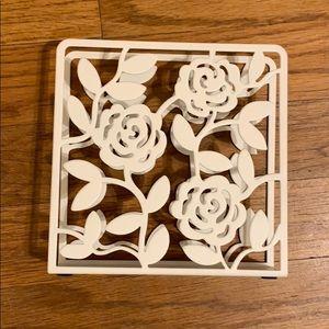 IKEA white metal floral napkin holder